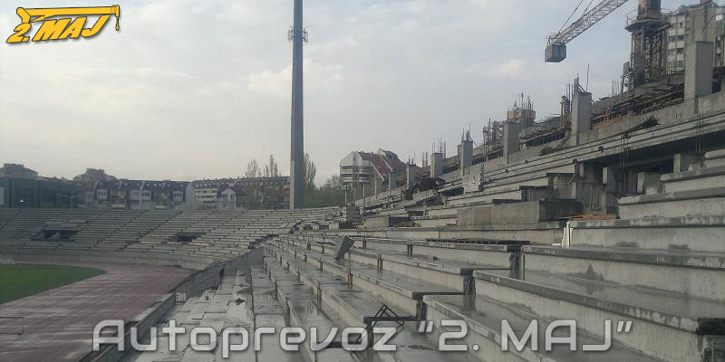 Erection of concrete structures of Čair stadium, Niš.